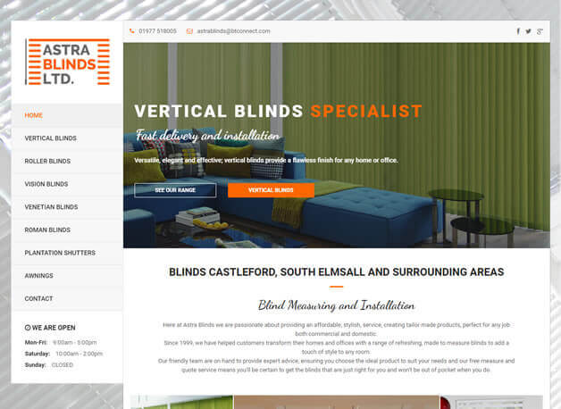 Astra Blinds website redesign