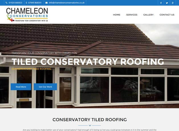 Chameleon Conservatories website design