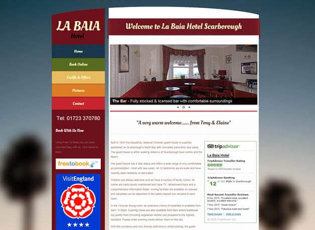 La Baia Hotel website redesign